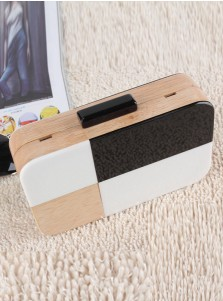 Multi Color Geometry Wood Box Chain Clutch