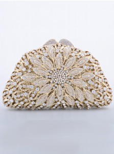 Luxury Champagne Closure Beaded Clutch Bag