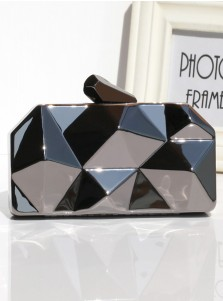 Black Geometry Pattern Box Chian Clutch