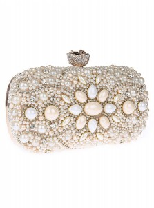 Beige Closure Beaded Rhinestone Clutch