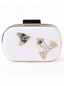White Closure Box Clutch with Beaded Buttflies