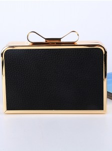 Black Bowknot Closure Hollow-Out Chain Box Clutch
