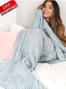Super Soft Hand Crocheted Grey Mermaid Tail Blanket Sofa Blanket