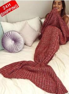 Super Warm Knitting Mermaid Blanket Red Blanket