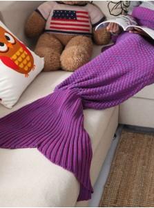 Pure Handmade Wool Purple Knitted Blanket Blue Mermaid Tail Blanket Sofa Blanket