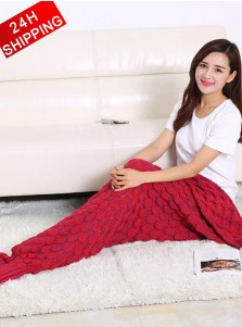 New Knitted Blanket Fish Scale Pattern Mermaid Tail Blanket Sofa Blanket (3 Colours)