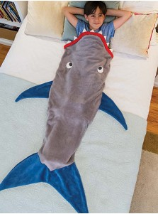Cool Grey Shark Shape Mermaid Tail Blanket Crochet Baby Blanket