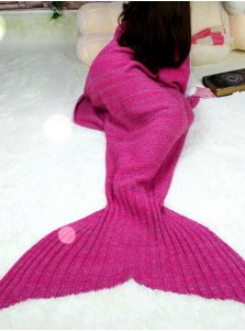 Blue / Red Knitted Mermaid Tail Blanket Sofa Blanket