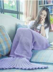 Cute Purple / Pink Cotton Mermaid Tail Blanket Knitted Sofa Blanket