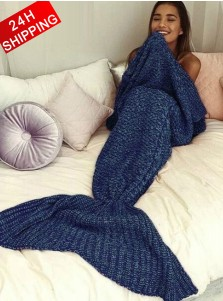 Soft Hand Knitted Navy Blue Mermaid Tail Blanket