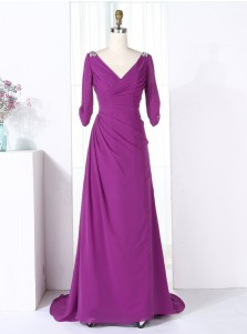 Sheath V-Neck Half Sleeves Purple Chiffon Beaded Bridesmaid Dress