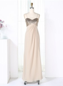 Sheath Spaghetti Straps Pearl Pink Empire Chiffon Bridesmaid Dress with Sequins