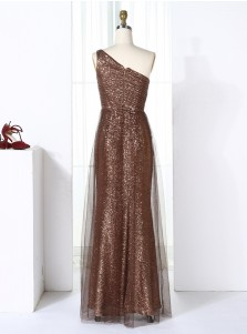Sheath One Shoulder Long Brown Tulle Sequined Bridesmaid Dress