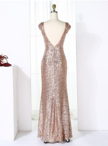 Sheath Bateau Cap Sleeves Backless Champagne Sequined Bridesmaid Dress