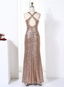 Sheath Jewel Open Back Long Champagne Sequined Bridesmaid Dress