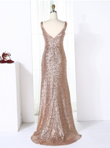 Sheath V-Neck Sweep Train Ruched Champagne Sequined Bridesmaid Dress