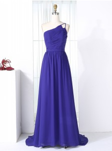 A-Line One Shoulder Sweep Train Royal Blue Chiffon Bridesmaid Dress