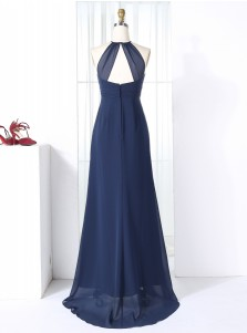 Sheath Round Neck Open Back Navy Blue Chiffon Beaded Bridesmaid Dress