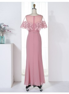 Sheath Bateau Blush Chiffon Bridesmaid Dress with Appliques Ruffles
