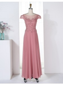 A-Line Bateau Cap Sleeves Blush Chiffon Bridesmaid Dress with Appliques