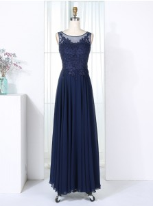 A-Line Bateau Navy Blue Chiffon Bridesmaid Dress with Appliques