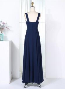 A-Line Bateau Navy Blue Chiffon Bridesmaid Dress with Appliques