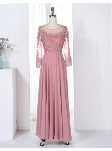 A-Line Bateau 3/4 Sleeves Blush Chiffon Bridesmaid Dress with Appliques