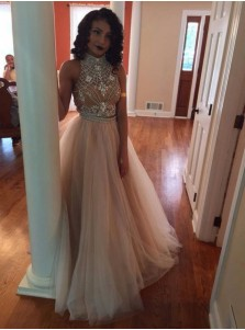 ac1f0330a6b ... A-Line High Neck Champagne Backless Tulle Two Piece Prom Dress with  Rhinestone