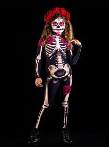 Halloween Horror Skeleton Rose Flower Skeleton Jumpsuit Cosplay Costume For Kids