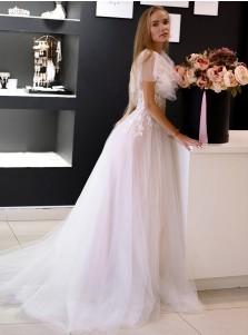 White Chiffon Zipper-up Cap Sleeves Wedding Dress with Sweep Train
