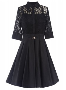 Lace Panel Lapel 3/4 Sleeves Black Vintage Flare Dress