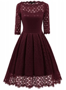 Burgundy Round Neck 3/4 Sleeves Lace Vintage Dress