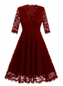 Lace V-Neck Burgundy Vintage Cocktail Swing Dress