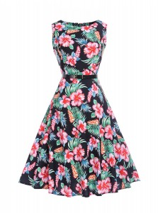 Floral Round Neck Multi Color Vintage Sundress