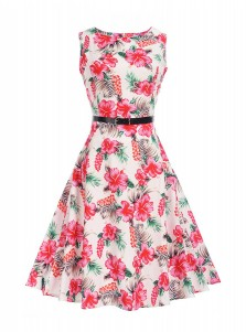 Floral A-Line Round Neck Pink Vintage Swing Dress