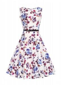 Floral A-Line Round Neck Vintage 50S Sundress