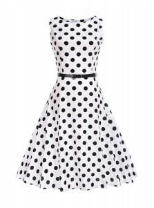 Polka Dots Round Neck Black and White 50S Vintage Dress
