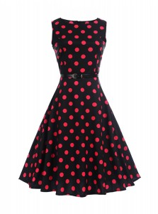 Vintage Polka Dots Round Neck Black and Red Pin Up Dress
