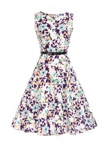 Floral A-Line Round Neck Multi Color Vintage Summer Dress