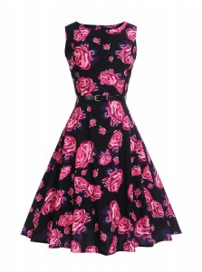 Vintage Floral A-Line Round Neck Multi Color Swing Dress