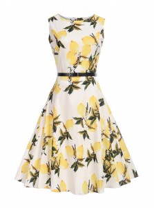 Vintage Round Neck Print Yellow 50S Style Sundress