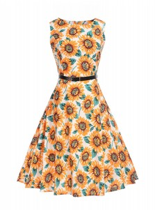 Vintage A-Line Round Neck Floral Orange Sundress