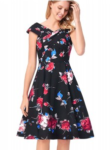 A-Line Off the Shoulder Floral Black Vintage Dress