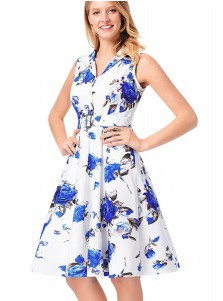 Half Button Belt Floral V-Neck Vintage 50S Dress