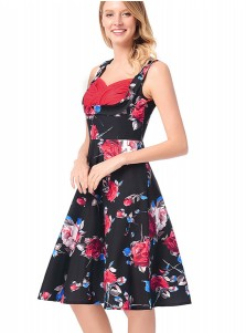 Vintage Floral Round Neck Black Swing Party Dress