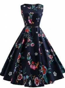 Vintage Floral Round Neck Sash Navy Blue Swing Dress