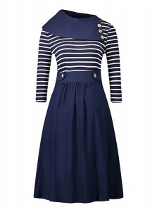 Stripes Asymmetrical Neck Patchwork Vintage Swing Dress
