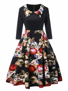 Peter Pans Collar Floral Long Sleeves Black Vintage Dress