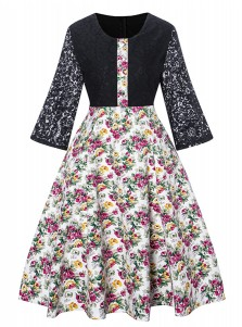 Lace Sleeves Floral Patchwork Vintage Black Dress