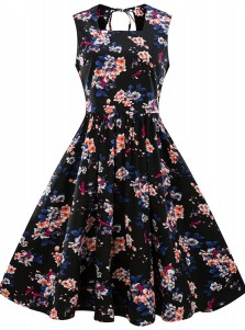 Plus Size Floral Square Neck Open Back Vintage Swing Dress